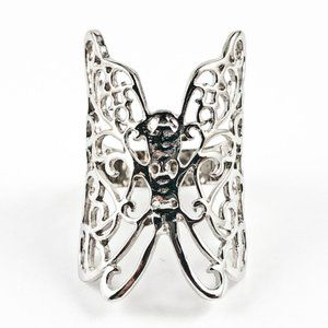 Jewelry - Beautiful Large Realistic Butterfly Silver Ring